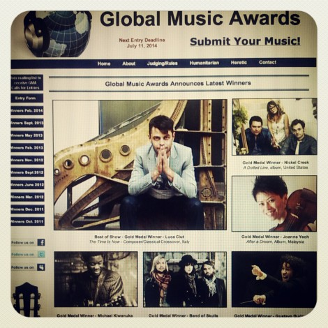 Luca Ciut Global Music Awards winner Gold Medal